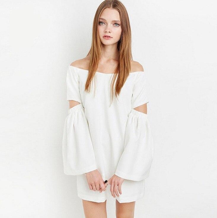 69e7aa4bf94d ⓪Каприз Новый стиль женские белые с плеча Симпатичные шифоновые ...