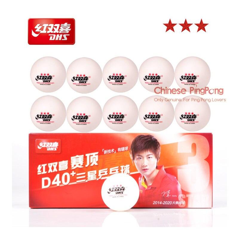 DHS 3-Star D40 + pelotas de tenis de mesa (3 estrella Material nuevo de 3 estrellas costura ABS bolas) de plástico de polietileno de pelotas de Ping-Pong
