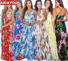 купить Womens Bohemian Dress Floral Printed Wrap V Neck Boho Sexy off shoulder Long Beach Party Maxi Dress ouc418 по цене 861.69 рублей