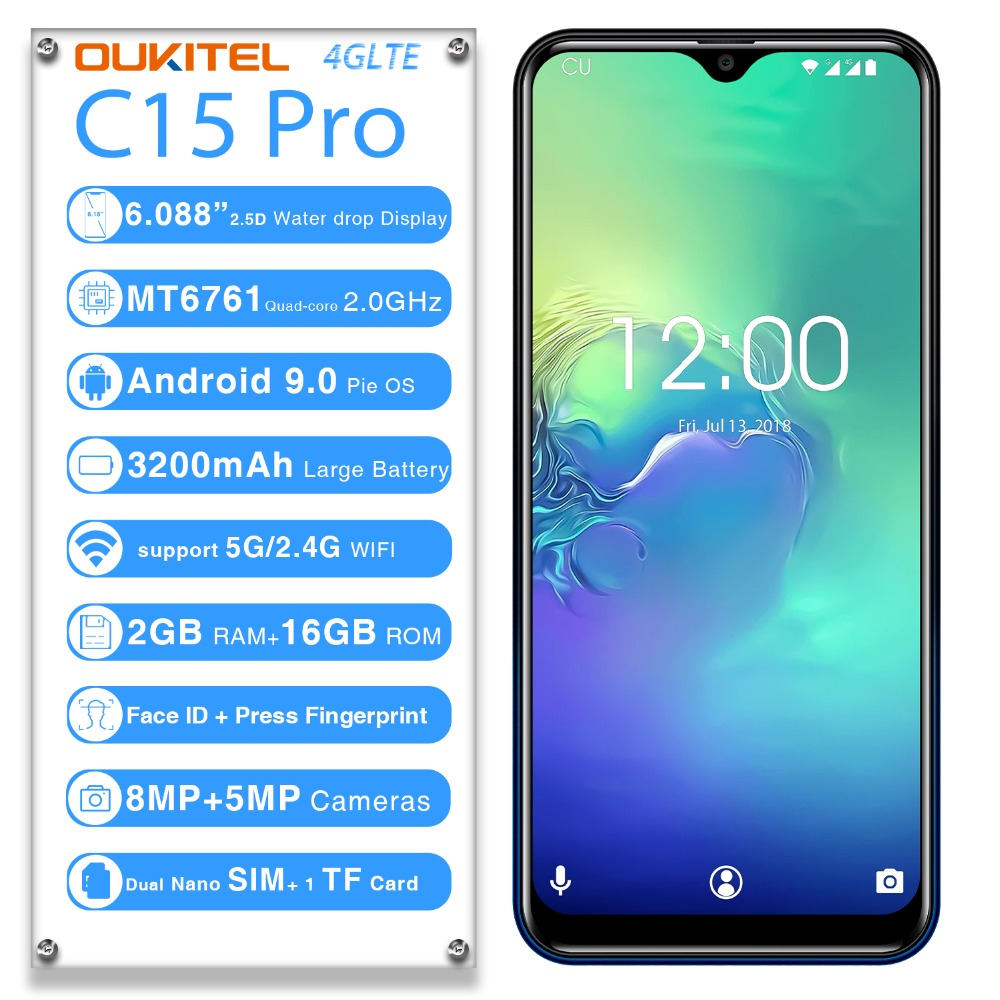"""2019 OUKITEL C15 PRO 6.088""""FHD 19:9 Water Drop 2GB 16GB Android 9.0 MT6761 Quad Core smartphone"""