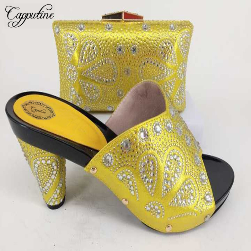 Capputine New Fashion Italian Design Yellow Shoes And Bag Set Italian Pumps Shoes With Matching Bags Set For Party Size 37-43 capputine african style crystal shoes and matching bag set for party fashion women pumps slipper shoes and bags set size 37 43