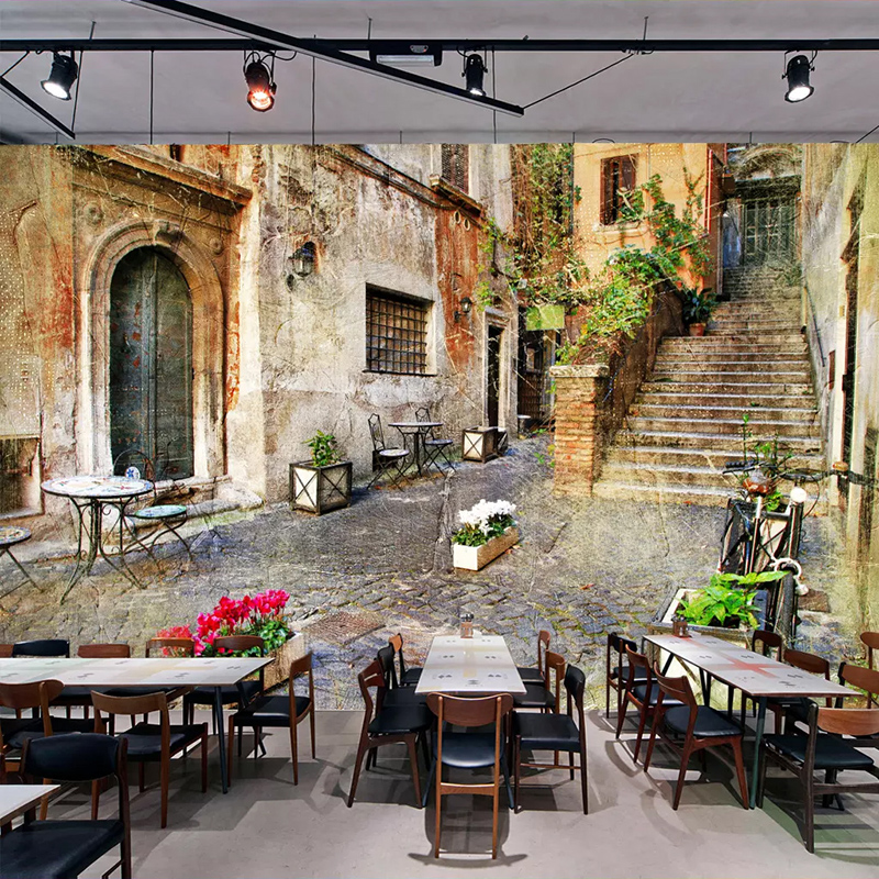 Custom Any Size Wall Murals 3D European Style Retro Street View Alley Living Room Restaurant Bar Cafe Background Photo Wallpaper