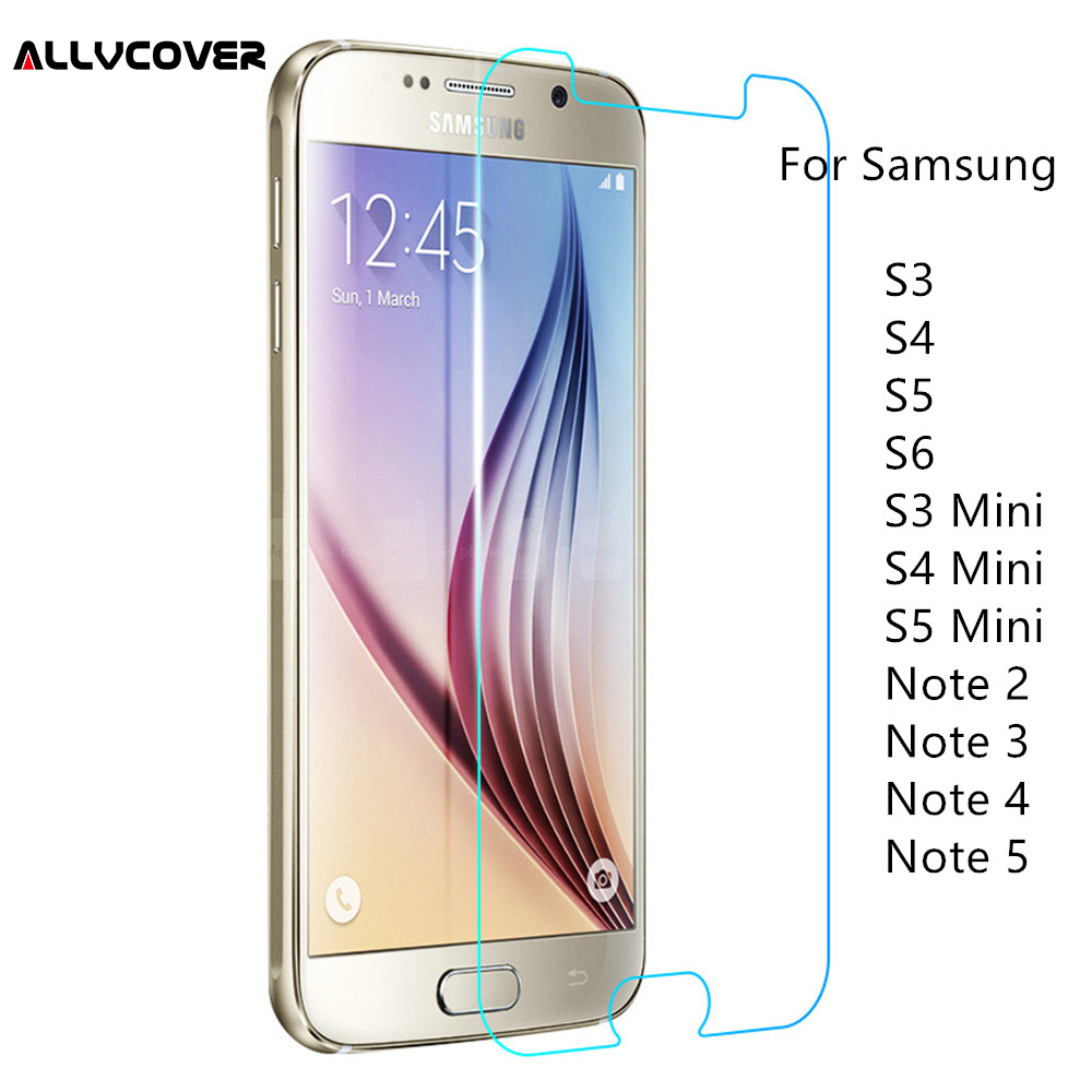 Allvcover 2.5D 9H Tempered Glass For Samsung Galaxy S3 Glass S4 S5 S6 S3 mini S4 mini S5 mini Note 2 3 4 5 Screen Protector Film