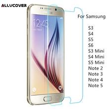 Фотография Allvcover 9H Tempered Glass For Samsung Galaxy S3 S4 S5 S6 S3 mini S4 mini S5 mini Note 2 3 4 5 Screen Protector 2.5D Glass Film