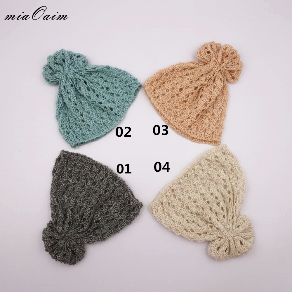 4Color/Lot Candy Color Unisex Girls Boys Hat Costume Hand Crochet Knit Infant Beanies Accessories Newborn Baby Photography Prop