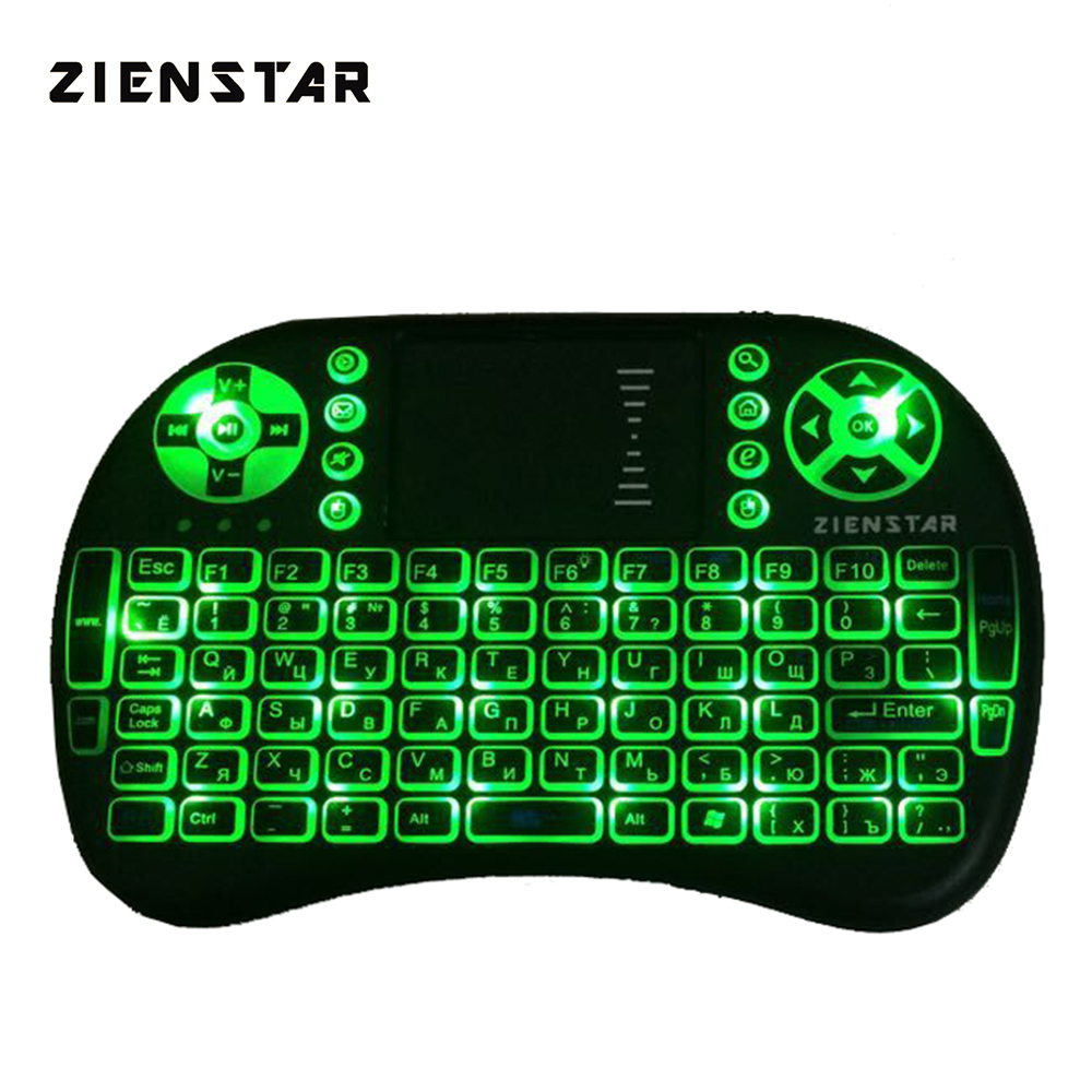 Zienstar Russia Mini 2.4G Wireless Keyboard with 3 Color Backlit Air FLY Mouse Remote Control Touchpad For TV Box Smart TV t6 2 4ghz wireless air mouse keyboard remote with touchpad