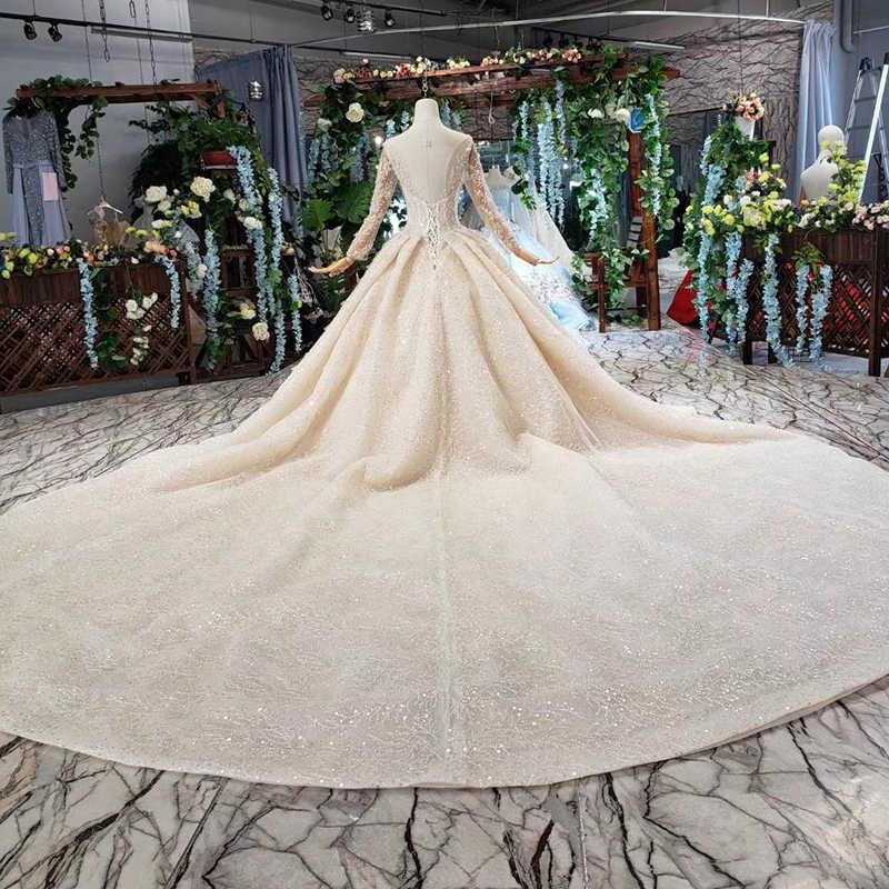 HTL481 Роскошные свадебные платья с королевским шлейфом, с круглым вырезом, с длинными рукавами, тяжелые Свадебные платья ручной работы высокого класса, vestido de casamento