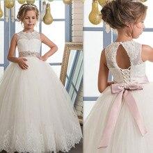 Элегантный Vestido De Primera Платье для первого причастия Романтика Кружево до Кружево аппликации Key Hole мягкий тюль платье с цветочным узором для девочек возрастом от 2 до 14 лет