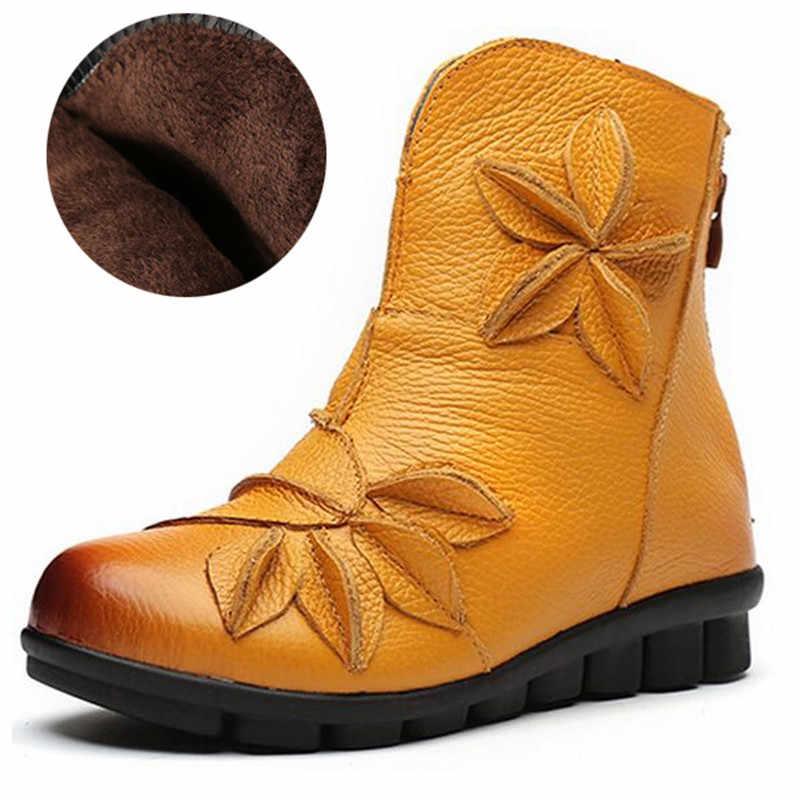 TIMETANG kadın yarım çizmeler yumuşak düz ayakkabı moda kadın sonbahar kış hakiki deri ayakkabı kadın artı büyük büyük boy C307