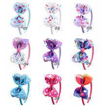"""1Pcs 4 Inch""""jojo clip Quality Princess multicolor Bows printing Girl Headbands Kids Hair Hoop Boutique Girls HairAccessories879"""