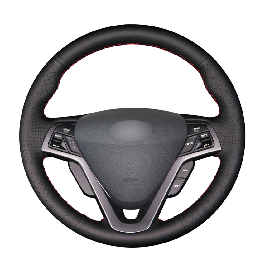 Black PU Artificial Leather Car Steering Wheel Cover for Hyundai Veloster 2011 2013 2012 2014 2015 2016 2017 2018
