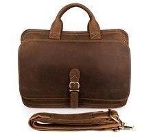 Men Cow Leather Briefcase Handbags 2018 Travel Brand Vintage Casual 15