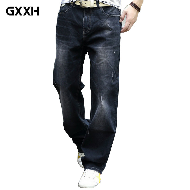 Mens Jeans Business Casual Slim Summer Straight Large Size Blue Jeans Stretch Jeans Pants Moto Pants Classic Jeans Size 28-44