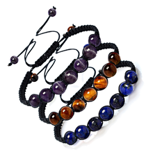 Charm Beads 8mm Tiger Eyes Beautiful Bracelet Womens Hand-knit Adjustable Accessories