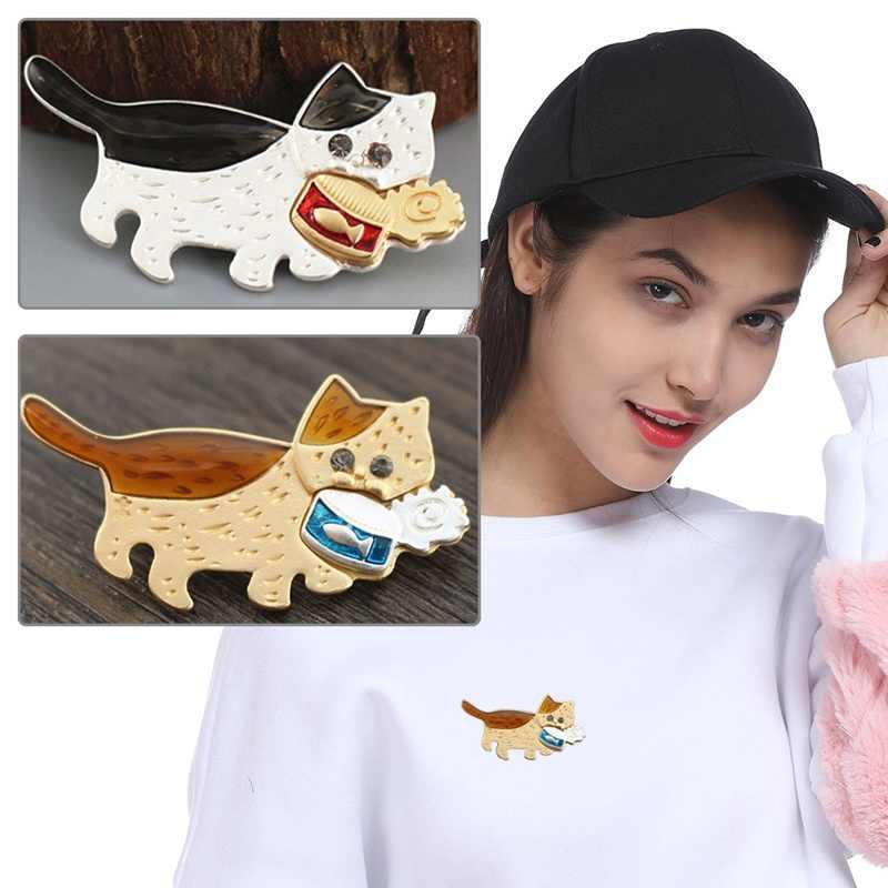 1 STÜCK Schöne Katze Essen Fischkonserven Brosche Harajuku Stil Sicherheitsnadel für Pullover Mantel T-shirt Schal Hut Tasche Decor