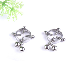 New Hot Fashion Bell screw round fake breast ring Non Pierced Clip on Nipple Ring Sexy Tongue Body Jewelry 2 Pcs