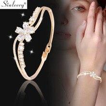 SINLEERY 2019 AAA Cubic Zirconia Crystal Flower Bracelet Ban