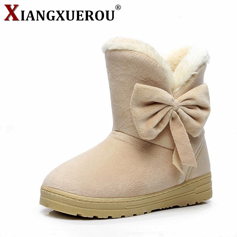 2018 Snow Boots Winter Female Ankle Boots Warmer Plush Bowtie Fur Suede Rubber Flat Slip On Fashion Platform Women's Shoes 35-42