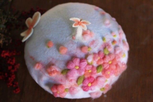 Принцесса сладкий лолита шляпа на заказ для 5-10days сакура бабочка трехмерной вышивки руководство шерсть берет MZ09
