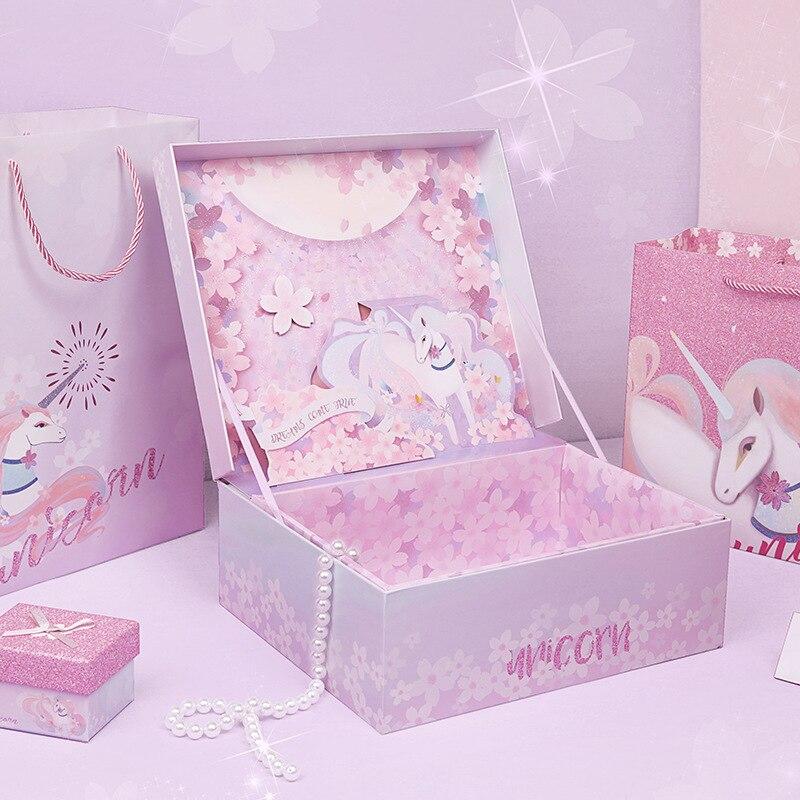Fashionable cartoon dream three-dimensional gift box cherry blossoms wedding souvenir Ins box formal dress Large gift box