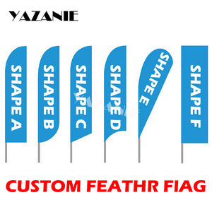 YAZANIE Graphic Printing Custom Blade Feather Flag Signs Beach Bowflag Teardrop Banner Flag for Outdoor Advertising Promotion(China)