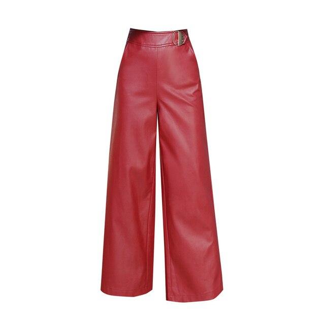adc9ef996e Donne di qualità PU Pantaloni di Pelle Rossa Casuale Pantaloni Larghi del  Piedino Nero Autunno Inverno Ufficio Delle Signore Figura Intera Pantaloni  ...