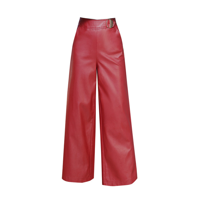 a7e6208ac74c3 Quality Women PU Faux Leather Pants Red Casual Wide Leg High Waist Pants  Womens Black Autumn Winter Full Length Trousers 2337LY