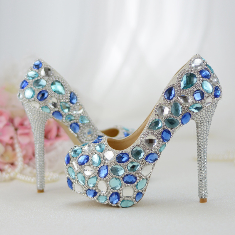 Womens wedding shoes Bride High shoes Blue crystal Handmade Party dress shoes Thin heel Pumps Ladies