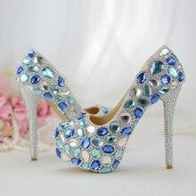 Delle donne scarpe da sposa scarpe da Sposa di Alta scarpe Blu di cristallo Fatti A Mano vestito da Partito scarpe Pompe tacco Sottile Donne in scena scarpe di moda femminile
