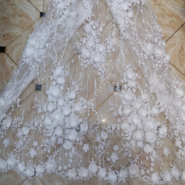 good quality 3D Hand Applique offwhite flower apricot net tulle mesh lace  for wedding  evening 9dfdae6b60e7