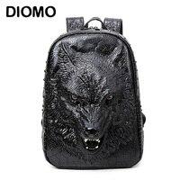 С печатью 3D голова волка. Специальные классные сумки на ремне для девочек - подростков. Материал ПУ. подходит для ноутбука, школьных принадле...