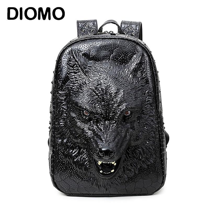DIOMO élégant sacs à dos 3D loup tête sac à dos spécial cool épaule sacs pour adolescent filles PU ordinateur portable en cuir sacs d'école