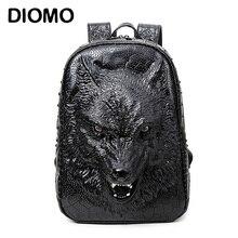 С печатью 3D голова волка. Специальные классные сумки на ремне для девочек — подростков. Материал ПУ. подходит для ноутбука, школьных принадлежностей.