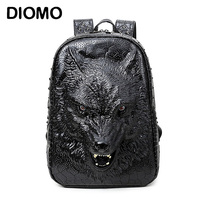 DIOMO stylish backpacks 3D wolf head backpack special cool shoulder bags for teenage girls PU leather laptop school bags