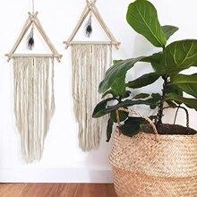 45cm*110cm Handmade Hanging Wall Tapestry Art Pure Cotton Thread Boho Curtain Handmade Home Decoration Hanging Macrame Tapestry