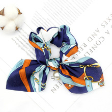 Chiffon Floral Printed Bowknot Silk Hair Scrunchies Women Pearls Ponytail Holder Tie Rope Accessories for Girls