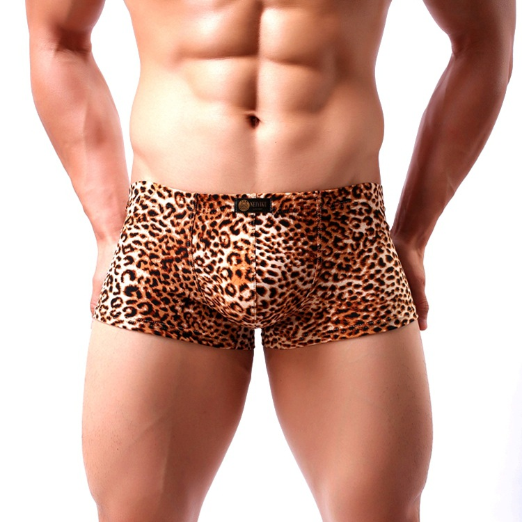Hot Sexy Men Leopard Printed Underwear Boxer Underpants Trunks Wild Style Boxers Shorts Male Panties Cueca Hombre Breathable