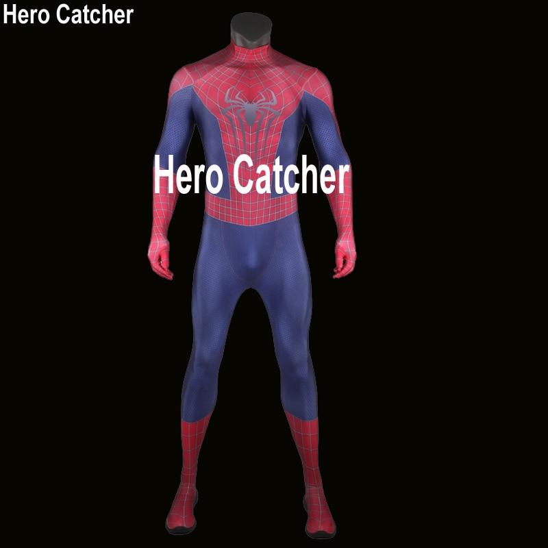 Hero Catcher High Quality Classic Amazing Spiderman Costume 3D Print Spiderman Suit Fullbody Spandex Spiderman Cosplay Costume