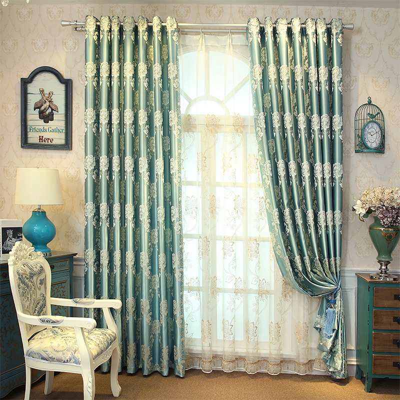 Купить с кэшбэком 2019 new luxury spun gold jacquard Blackout curtains for living Room sheer curtains for kitchen window curtain bedroom