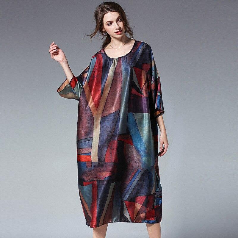 f9c55ffbba Plus Size Midi Sukienka Kobiety Geometria Wydrukowano Kolorowe Etykiety  Etykiety Etykiety Satynowe Sukienki Ciążowe w Plus Size Midi Sukienka  Kobiety ...
