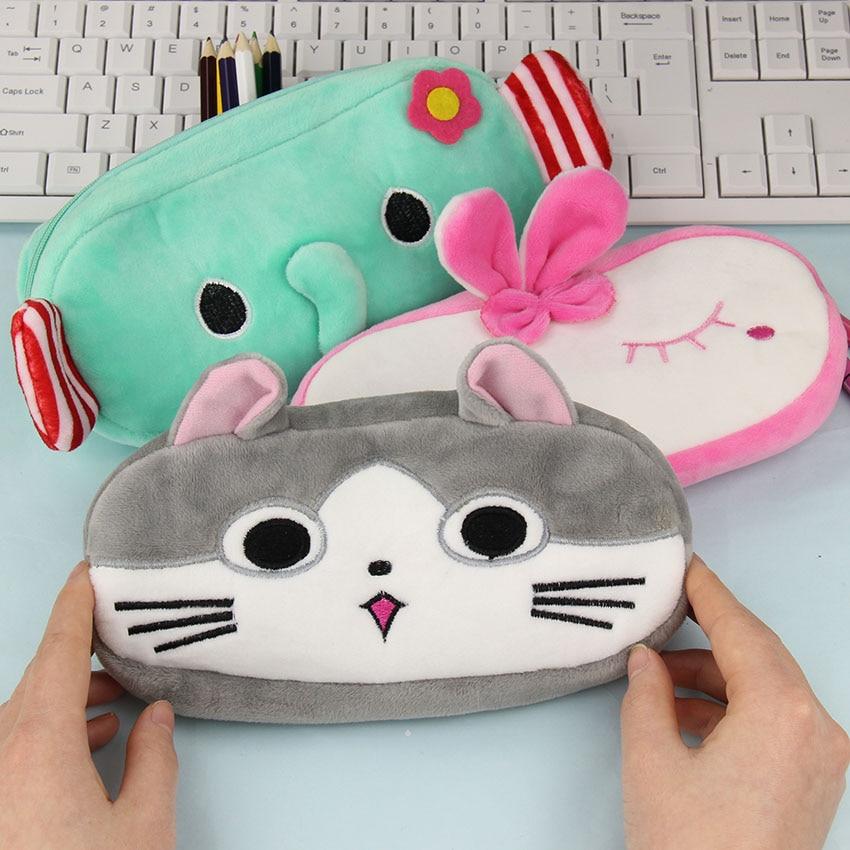 1 PC Cute Cartoon Plush Pencil Case Kawaii Large Size School Kids Pencil Box Animals Stationery Bag