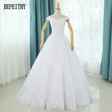 BEPEITHY 2017 Vestidos de Novia New Design Off Shoulder Bohemian Wedding Dresses Pleat Appliques Tulle Bridal Gowns Real Photo