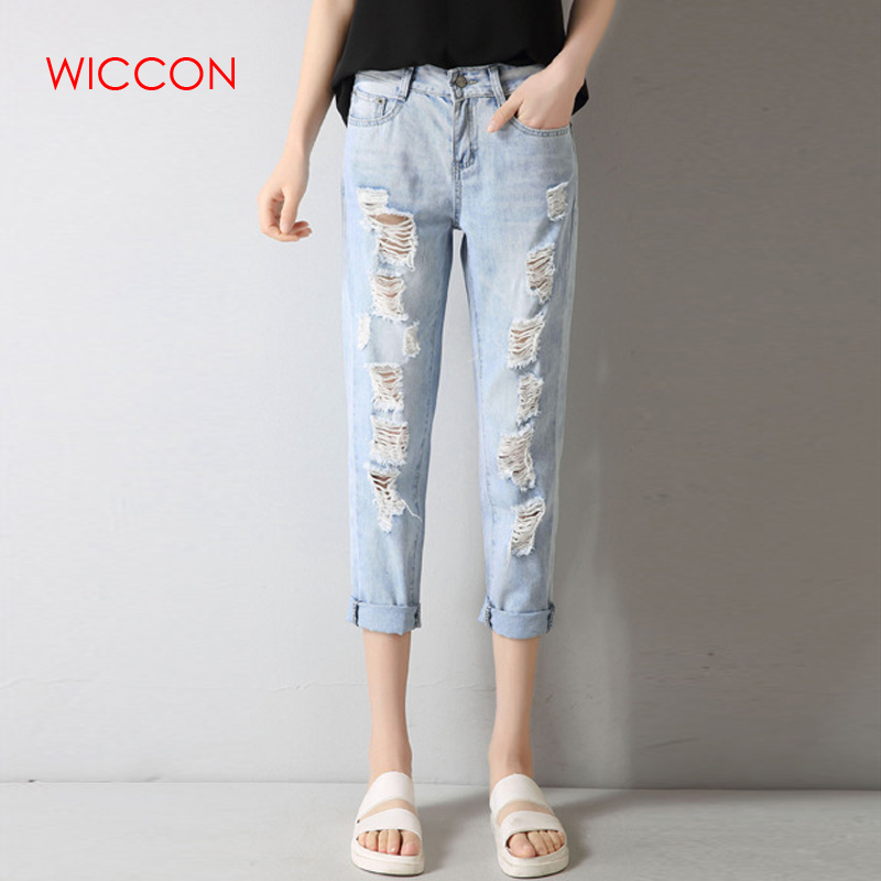 WICCON Plus Size 34 Hole Ripped Jeans Women Harem Pants Loose Ankle-Length Pants Boyfriends For Woman Ladies Skinny Jeans 2018