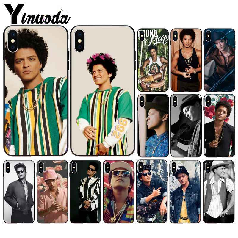 Yinuoda Bruno Mars Smart Cover Black Soft Shell Phone Case for iPhone X XS MAX  6 6s 7 7plus 8 8Plus 5 5S SE XR