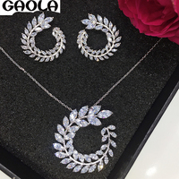 GAOLA white gold Color AAA CZ Necklace+Earring Jewelry Set For Bride Bridal Wedding GLD0997/GLE5401AY
