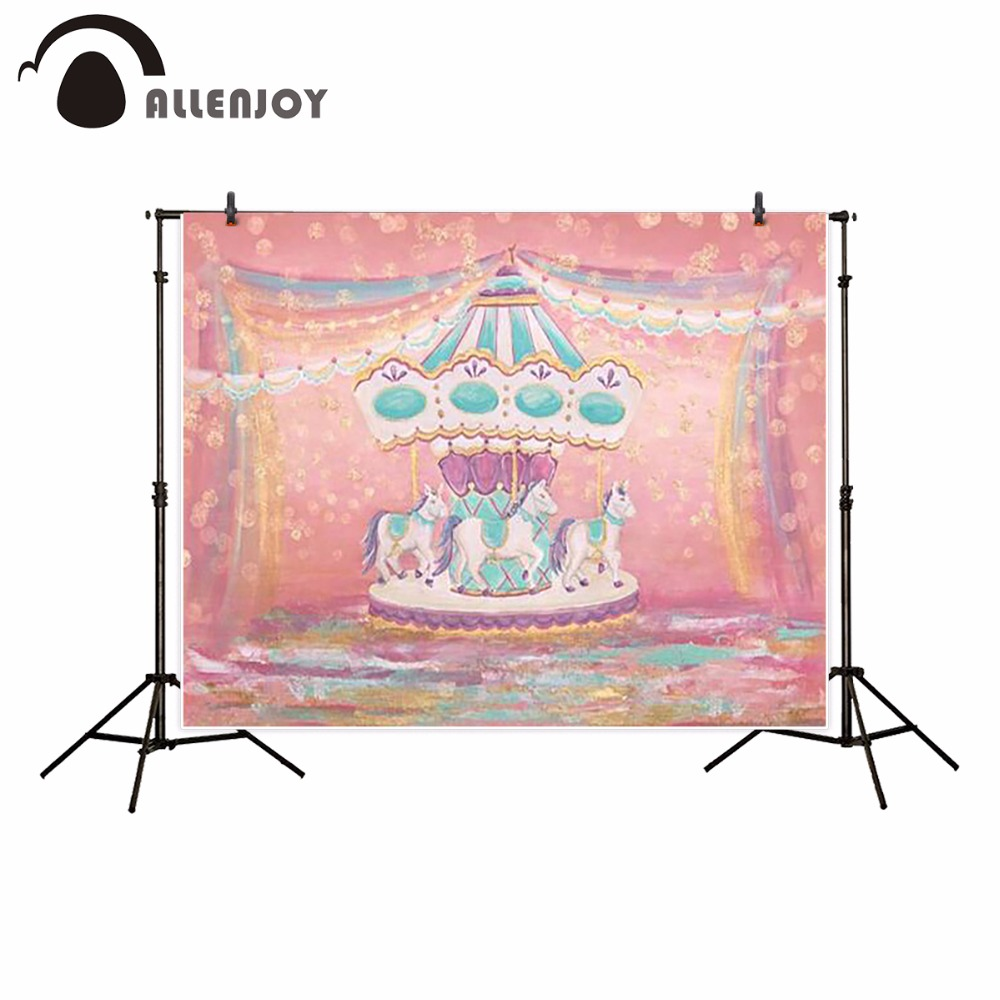 Allenjoy pink carousel photography backdrop watercolor birthday girl Children Background photobooth photocall photo studio new fabric birthday party backdrop balloon and paper craft photography backdrop for photo studio photography background s 2132 c