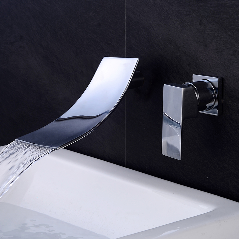 Modern Simple Bathroom Waterfall Basin Faucet Deck Mounted Crane For Water Washbasin Chrome Hot and Cold Mixer Sink Tap 88322 led waterfall bathroom basin faucet deck mounted washbasin bathroom tap 5 pcs set flush cold and hot water mixer taps