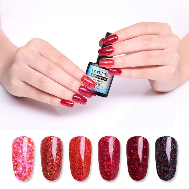 LILYCUTE 8ml Red Glitter Gel