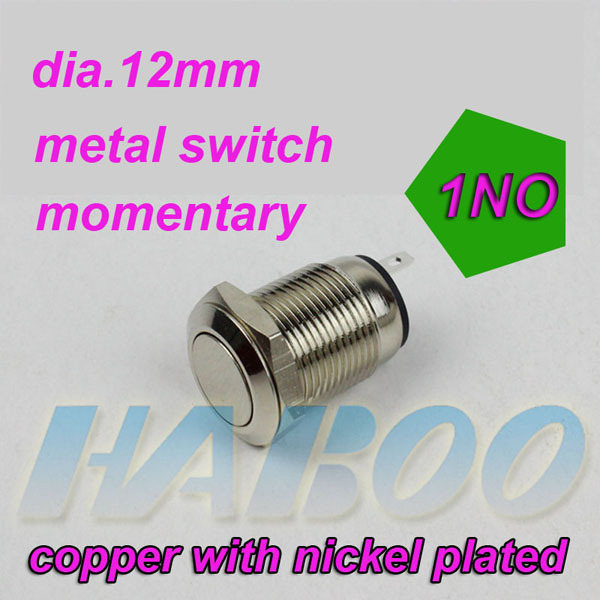 1pcs shipping free HABOO vandal resistant 12mm metal push button switch flat head 1NO momentary electrical switch 2A 250V