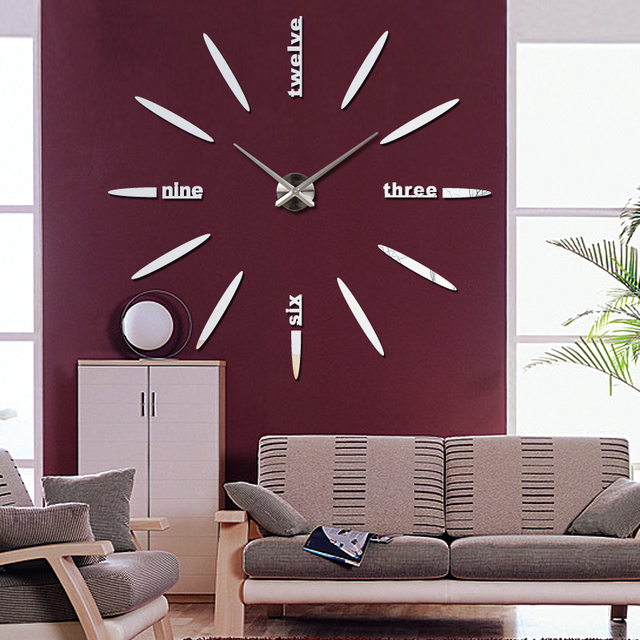 2017 free shipping new wall clock watch clocks Circular relojde pared home decoration acrylic special sticker Living Room Needle